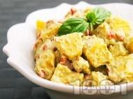 Лесна картофена салата с майонеза и босилек без лук